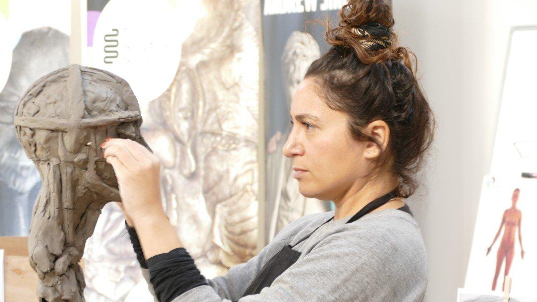 5. Portrait Sculpture Workshop - measuring the model. The Sculpture School